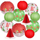 Christmas Hanging Paper Lanterns Set Decorative Lantern Lamps Christmas Santa Hats Christmas Tree Snowman Old Man for Christm