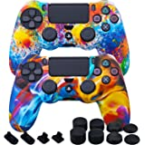 MXRC Silicone Rubber Cover Skin case Anti-Slip Water Transfer Customize Camouflage for PS4/SLIM/PRO Controller x 2(Rainbow Pa