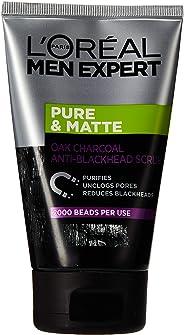 L'Oreal Men Expert Pure and Matte Charcoal Black Scrub, 100 ml