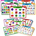 teytoy Kids Placemats Set of 5, Laminated Toddler Educational Learning Table Place Mats, Alphabet Math Shapes Colors Calendar