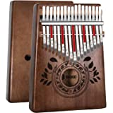 UNOKKI Kalimba 17 Keys Thumb Piano with Study Instruction and Tune Hammer, Portable Solid African Wood Finger Piano, Kids Adu