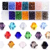 Bicone Crystal Beads Bulk Beaded-Wholease 4MM Czech Beads Mix Lot of 1400pcs Faceted Crystal Glass Beads Seed Beads For Jewel