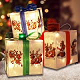 MorTime Set of 3 Lighted Boxes with Bows, Santa Claus Reindeer Snowman PVE Boxes with 60 LED Light String for Christmas Decor