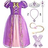 ReliBeauty Girls Rapunzel Dress Puff Sleeve Princess Costume