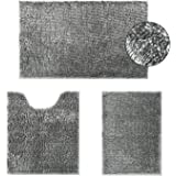 HOMEIDEAS Velvety-Soft Butter Chenille Bathroom Rugs Set 3 Pieces Silver Grey, 3X Absorbent Spa Shaggy Bath Rug Non Slip, Was