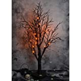 ALLADINBOX Halloween Tree 24 Inch 18 LED Black Spooky Tree Glittered with Orange Lights and Spider Web and Spiders with Batte