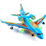 Toysery Airplane Airbus Toy for Kids - Bump and Go Action with 360 Degree Rotation - Plane with Attractive LED Flashing Light