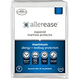AllerEase Maximum Allergy and Bed Bug Waterproof Zippered Mattress Protector - Allergist Recommended to Prevent Collection of