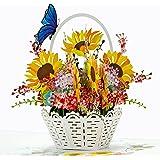 CUTPOPUP Pop Up Flower Cards, Handmade Flower Greeting Cards Sun flowers - Vase Flowers Pop Up Card, Flower Card, Flower Gree
