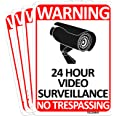 TICONN 4-Pack 24 Hour Video Surveillance Sign, No Trespassing Aluminum Warning Sign, 10x7 Inches Indoor/Outdoor Use for Home