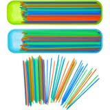 Boao 200 Pieces Pick up Sticks Game Toys with 2 Storage Boxes for Kids Family Fun, 3 Colors