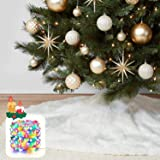 "KD KIDPAR 48"" Faux Fur Christmas Tree Skirt for Holiday Tree Decorations with 5 Meters 50LED Copper Wire String – White Plush"