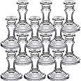 "DARJEN Candlestick Holders Set, 4"" H Taper Candle Holders Bulk, 12Pcs Clear Glass Candle Holders for Wedding, Festival, Party"