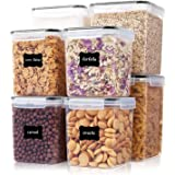 Large Food Storage Containers 8 Pieces - YORUKAU BPA Free Pantry & Kitchen Organization Containers with Black Airtight Lids -