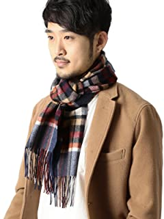 Check Cashmere Scarf 11-45-0423-544: Navy