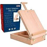 """US Art Supply Newport Large Adjustable Wood Table Sketchbox Easel, 13""""x17 1/2""""x5-3/8"""" - Desktop Artist Easel - Wooden Portabl"""