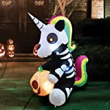 Joiedomi 5 FT Tall Halloween Inflatable Sitting Skeleton Unicorn Inflatable Yard Decoration with Build-in LEDs Blow Up Inflat