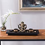 MyGift Ganesh Statue Incense Stick Burner Tray with Candle Holders