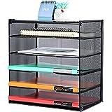 Samstar Paper Letter Tray, Mesh Desk File Organizer with 5 Tier Shelf and Sorter, Black