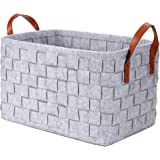 Felt Storage Basket Bins, Foldable Handmade Collapsible Storage Basket Bins with PU Handles, Large Organizer for Kids, Toys,