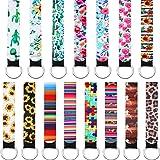 15 Pieces Neoprene Wristlet Keychain Wrist Lanyard Keychain Holder for Women Girls