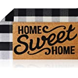 Sierra Concepts Pure Coco Coir Front Door Welcome Mat Outdoor Rug 30 x 17 + Buffalo Plaid Rug Checkered Layered Black and Whi