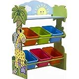 Fantasy Fields - Sunny Safari Kids' Toy Organizer with 6 Storage Bins, Green