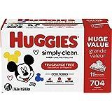 Huggies Simply Clean Unscented Baby Wipes, 11 Flip Lid Packs (704 Wipes Total)