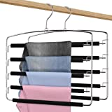 Red Photon Pants Hangers - Multi-Purpose Space Saving Slacks Hanger 2 Pack - Swing Arm, Foam Padded 5 Layers, Non-Slip, Stain