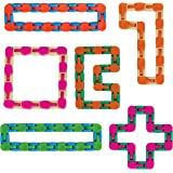 Wacky Tracks Fidgets Snap and Click Fidget Cube Puzzles Bulk Set of 6 by Neliblu- ADHD, Autism, Stress Relief Therapy - Fidge