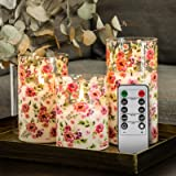 Eywamage Glass Flameless Candles, Rose Floral Flickering Realistic Battery Candles Black Wick, 10 Key Remote 3 Pack Decorativ