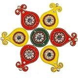 ARTISENIA Diwali Rangoli Indian 7 Pieces Red & Yellow Kalash Rangoli Floor Table Decoration Studded Stones Sequins Traditiona