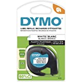 DYMO - SAN91331 91331 LetraTag Labeling Tape for LetraTag Label Makers, Black Print on White Plastic Tape, 1/2'' W x 13' L, 1