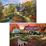 Yomiie 5D Diamond Painting Cottage Morning & Villa Dusk Full Drill by Number Kits for Adults, 2 Pack Village Landscape Paint