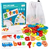 Coogam Read Spelling Learning Toy, Wooden Alphabet Flash Cards Matching Sight Words ABC Letters Recognition Game Preschool Ed