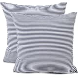 COMHO Pack of 2, Cotton Woven Striped Throw Pillow Covers Set, Decorative Cushion Covers, Square Farmhouse Pillowcases, for C