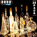 REDNUTH Cork Lights Wine Bottle Lights, 12 Pack 20 LEDs with 36+12 Pcs LR44 Operated Batteries on 7.2 Ft/2m Mini Silvery...