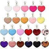 22 Pieces Pom Poms Keychains Fluffy Valentine's Day Heart Shape Pompoms Keyring Faux Rabbit Fur Pompoms Valentines Decoration