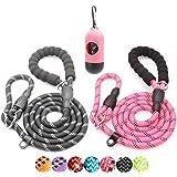 BAAPET 6 Feet Slip Lead Dog Training Leash for Large, Medium, Small Dogs (Black+Pink)