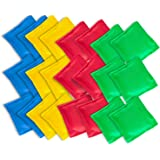 """Super Z Outlet Nylon Cornhole Bean Bags Toy Set Sack Hand Toss Games Weights for Kids (5"""" x 5"""" Assorted Colors) (24 Pack)"""
