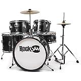 RockJam RJ105-BK Complete 5-Piece Junior Drum Set with Cymbals, Adjustable Throne & Accessories, Black