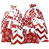 6 PCs Christmas Fabric Gift Bags Red Elegant Color with 3 Sizes for Christmas Season, Holiday Gift Giving, Holiday Presents D