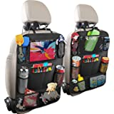 HOME-MART 2 Pack Car Organisers with 7 Storage Pockets,Car Back Seat Organiser,Car Tablet Holder,Waterproof Backseat Cover,Ki