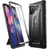 YOUMAKER Case for Galaxy Note 10 Plus, Built-in Screen Protector Work with Fingerprint ID Kickstand Full Body Heavy Duty Shoc