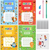 Magic Practice Copybook, 4 Pack Reusable Handwriting Workbook Enlarged 10.3 x 7.3 in with Magical Pen, Pencil Case, Groove Ca