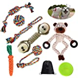 Dog Toys 9-Piece Set,Suitable for Medium and Small Dogs Puppy Teething Chew,Contains Aggressive Chewers Rope Dog Toys and Int