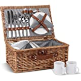 Picnic Basket for 2, Willow Hamper Set with Insulated Compartment, Handmade Large Wicker Picnic Basket Set with Utensils Cutl