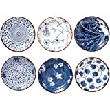 Japanese Style Ceramic Dipping Bowls,4 Inch Side Dishes Sauce Dishes for Sushi,Sauce,Snack and Soy,3 Oz Blue and White Pinch