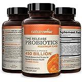 NatureWise Max Probiotics for Men & Women | Time-Release Caplets Comparable to 450 Billion CFU with 30 Strains, WiseBiotics T