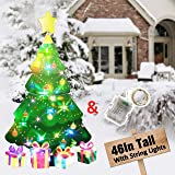 HOSKO Christmas Tree Decor, 45inch Xmas Yard Signs Stakes with String Lights, Xmas Decorations for Outside Outdoor Giant Holi